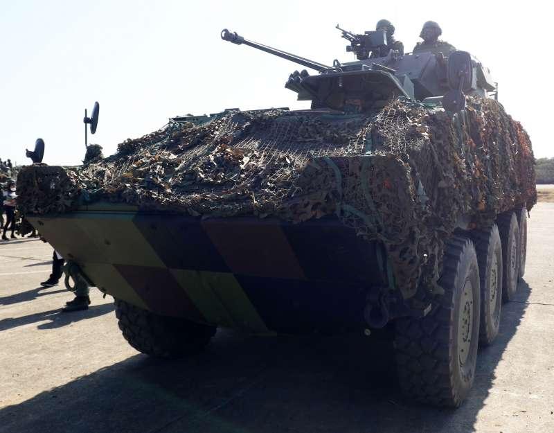 20210120-陸軍六軍團裝甲584旅聯兵一營19日在新竹湖口進行「重要目標防護演練」。(蘇仲泓攝)