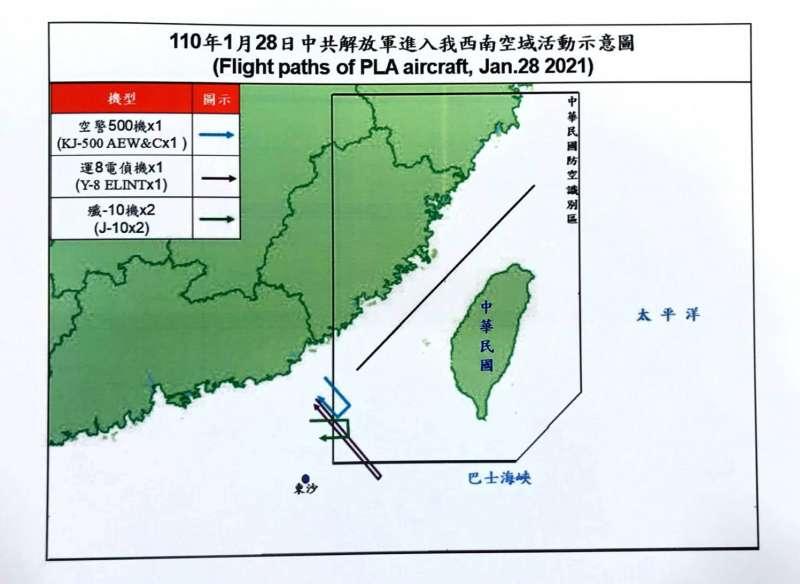 20210128-共機28日日間航跡圖。(空軍司令部提供)