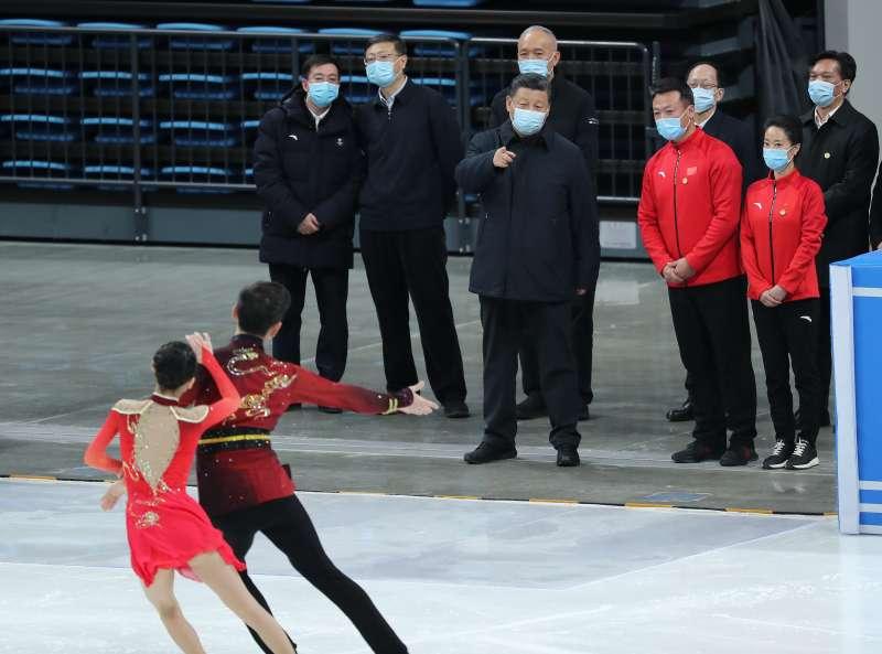 中國國家主席習近平視察2022年北京冬奧籌備情形。冬季奧運(AP)