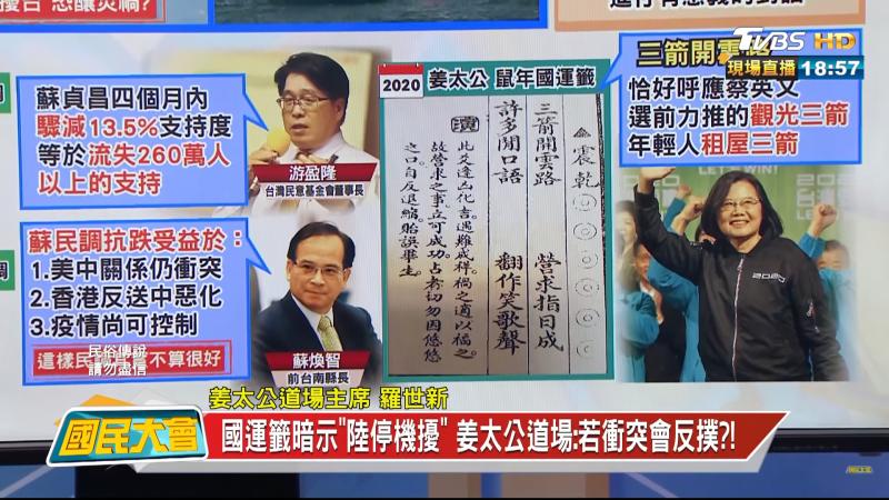 20210129-陽明山姜太公道場主席羅世新在節目表示,盧秀燕可能是下一屆總統大選中的黑馬。(攝自電視節目《國民大會》)