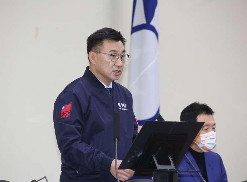 20210203-國民黨主席江啓臣3日主持國民黨中常會。(柯承惠攝)