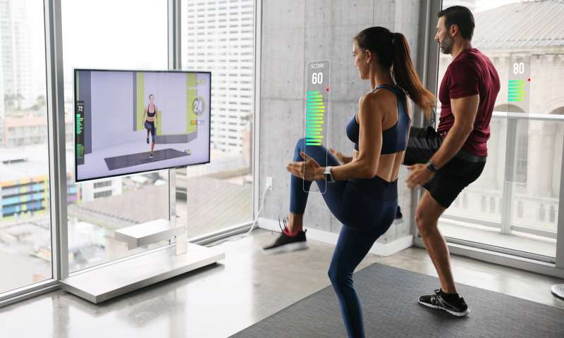 Wondercise健身科技在用戶訓練時即時提供運動分數(圖片來源:Wondercise)