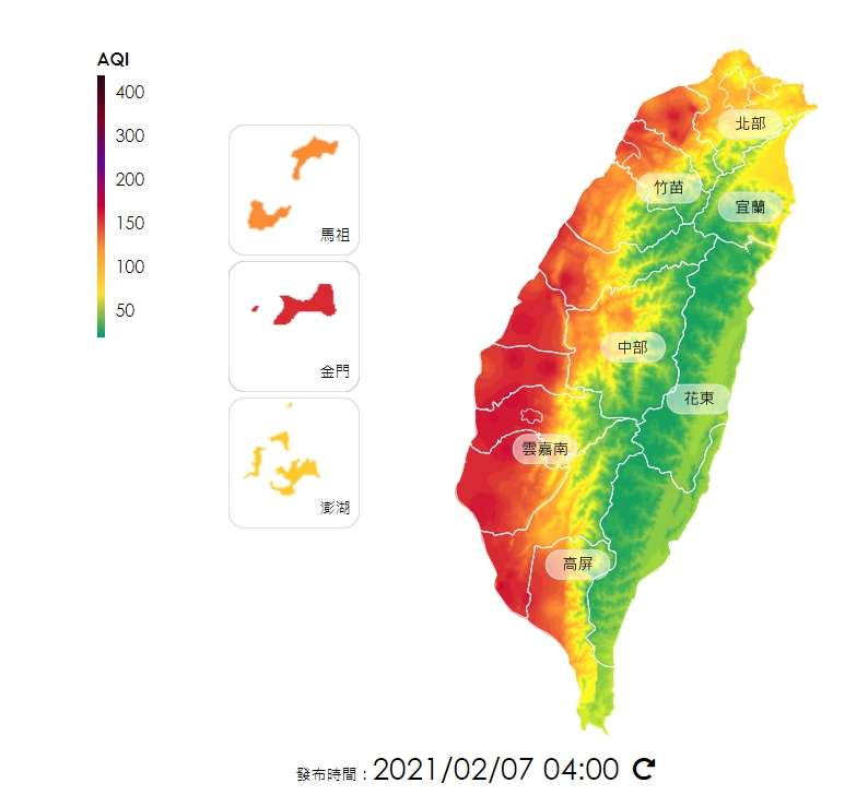 根據環保署空氣品質監測網,發現空屋嚴重區域集中在西半部。(圖/空氣品質監測網頁airtw.epa.gov.tw)