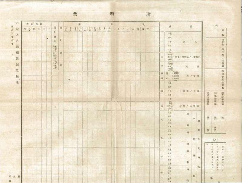 1905年,臨時臺灣戶口調查所帶票。(圖/作者提供)