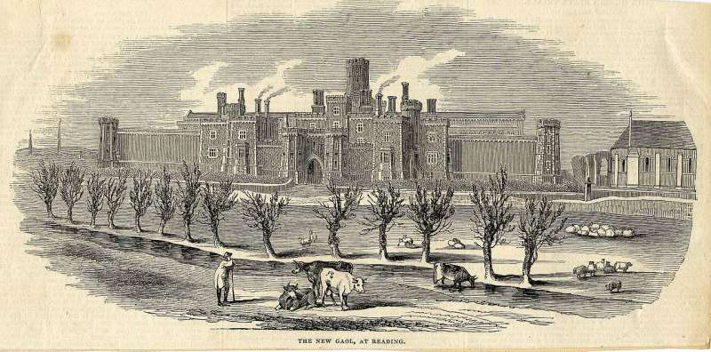 英國雷丁監獄在1844年的外觀。(維基百科公有領域)