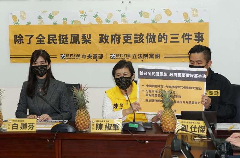 20210304-時代力量4日舉辦「除了全民挺鳳梨政府更該做的三件事」記者會,主席陳椒華(中)發言。(盧逸峰攝)