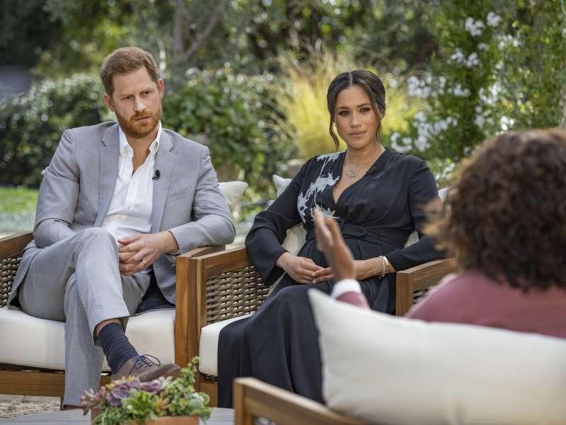英國哈利王子和妻子梅根接受脫口秀名嘴歐普拉專訪。(AP)