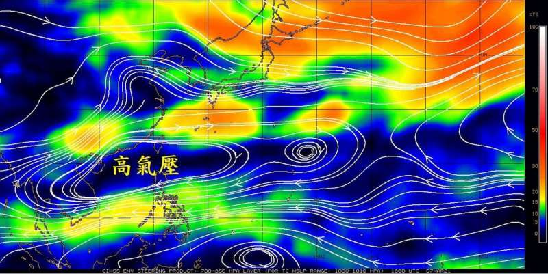 20210308-氣象局長鄭明典表示,台灣南部地區被副熱帶高壓「壓著」,大氣相對穩定、難有明顯降雨,因此才面臨這段時間的旱象。(取自鄭明典臉書)