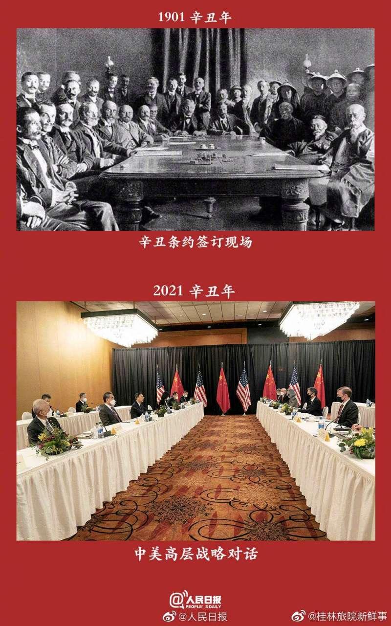 中國官媒將美中戰略高層對話與1901年簽署《辛丑條約》兩相對照。(人民網)