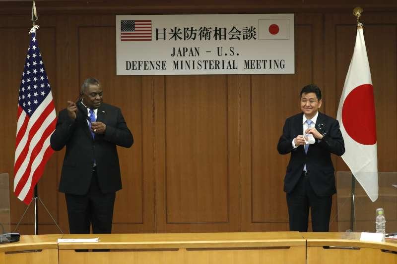 2021年3月16日,美國國防部長奧斯丁(Lloyd Austin)與日本防衛相岸信夫(Nobuo Kishi)(AP)