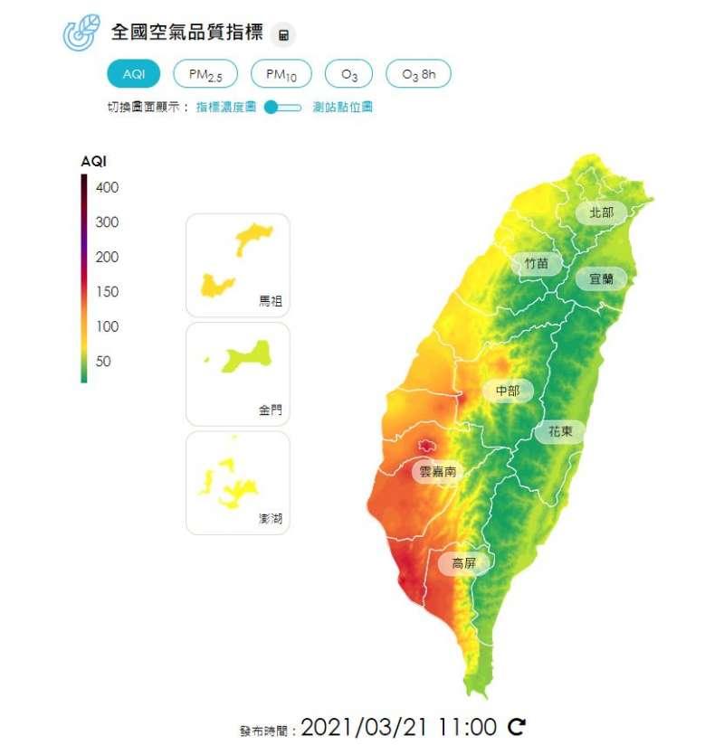 環保署提醒嘉義地區為紅色警示,民眾應減少在戶外活動,而中部、雲嘉南及高屏地區則為橘色提醒,因此敏感族群應減少在戶外劇烈活動的頻率。(取自環保署空氣品質監測網)
