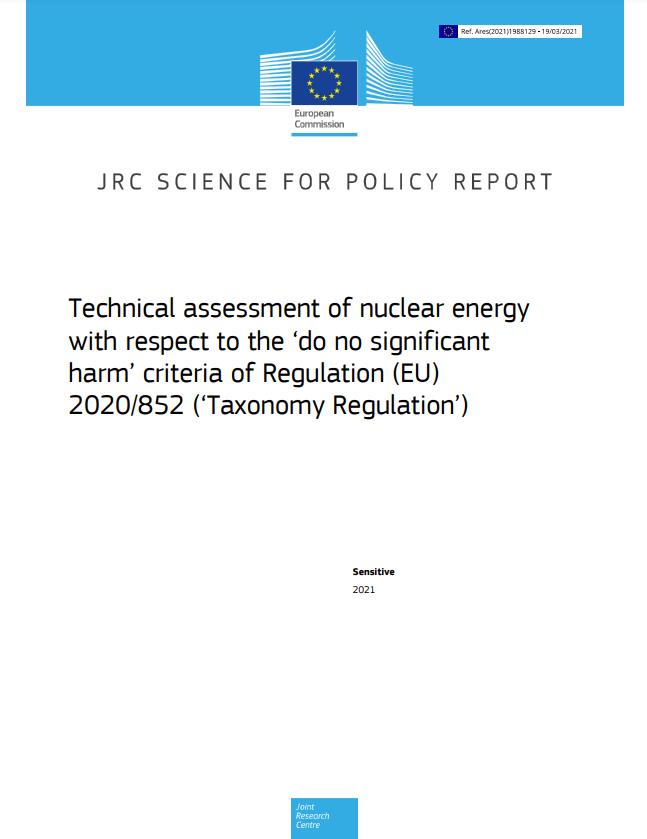 歐盟最新JRC報告,表示核能符合歐盟對綠能的定義範疇。(作者提供)