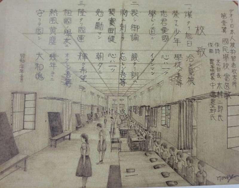泥於里收容所第一國民學校,共有 8 個學級,學生行事曆完全與日本內地相同,也要學唱強調「忠君愛國」、「大和魂」的校歌。(圖/研之有物提供)