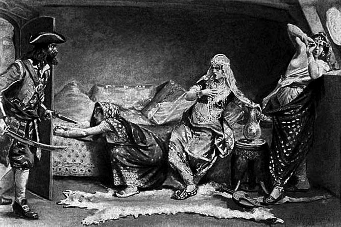 英國海盜埃弗里(Henry Every,左)登上被劫掠的「寶藏號」(Wikipedia / Public Domain)