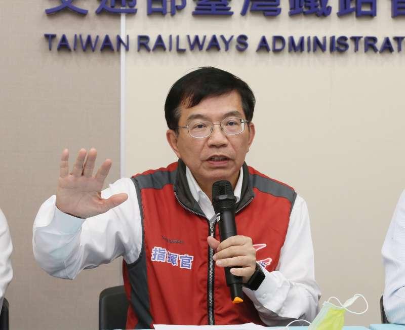 20210405-台鐵5日舉行記者會,交通部次長王國材出席。(柯承惠攝