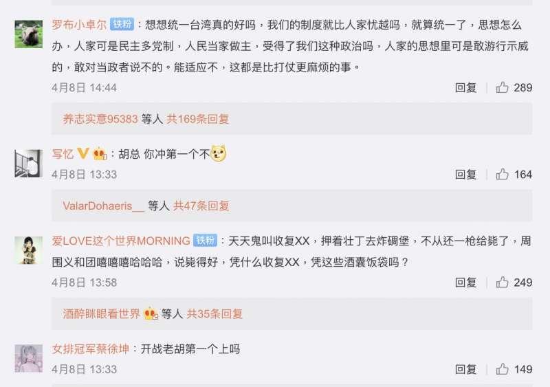 中國網友在胡錫進微博底下的留言節選。