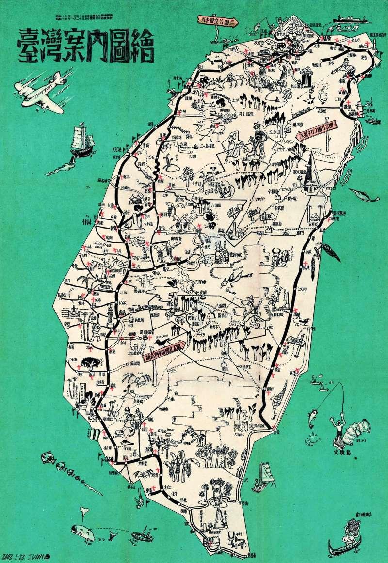20210411-日治時期「東亞旅行社台灣支部」所發行的1942年的台灣旅遊地圖顯示台灣鐵路網已具輪廓。(取自維基百科)