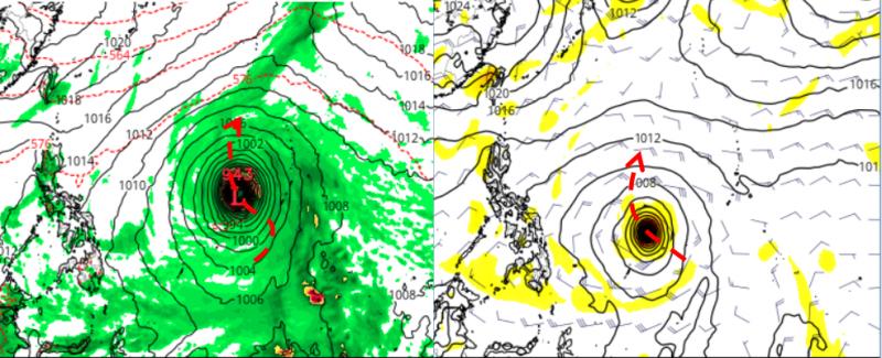 20210411-最新美國模式(GFS)顯示,約在3、4天後,關島南方海面的熱帶雲簇被命名為颱風(左)歐洲模式(ECMWF)模擬則顯示還須5天。(取自洩天機教室)