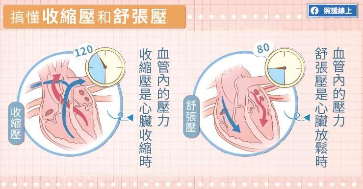 收縮壓和舒張壓所代表的意思。(圖/取自照護線上)