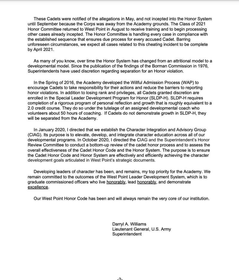西點軍校對作弊學生的處置聲明(二之二)。(翻攝西點官網)