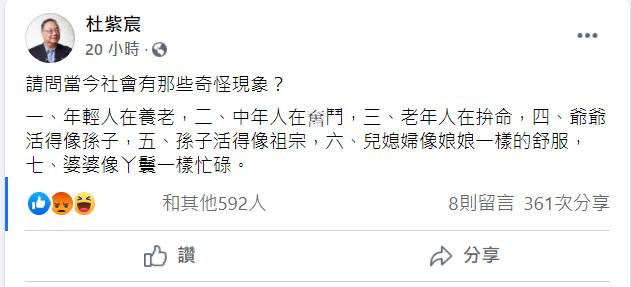 20210421-中華大學兼任講座教授杜紫宸20日在臉書盤點當今社會的「奇怪現象」。(取自杜紫宸臉書)