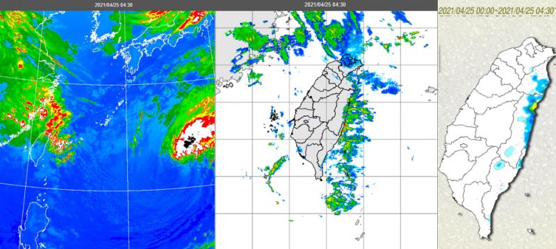 20210425-25日晨紅外線雲圖顯示,華南中高雲移入,西半部雲量增多,東半部沿海有較厚實雲層(左);伴隨降雨回波(中);東半部有局部雨(右)。(取自洩天機教室)