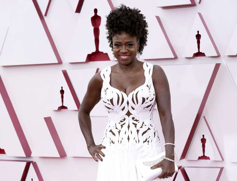 第93屆奧斯卡獎紅毯:影后入圍者、《藍調天后》薇拉戴維斯(Viola Davis)。(AP)