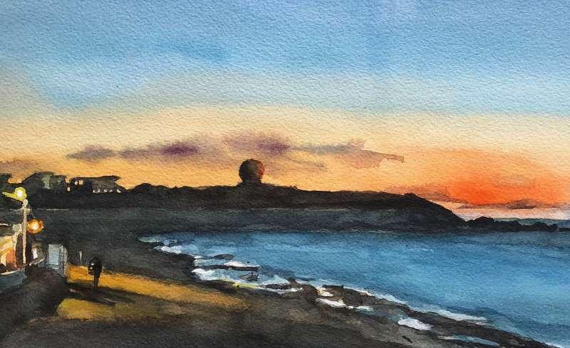 老梅海岸,這裡是觀賞藻礁和夕陽的勝地。(繪圖:王學呈)