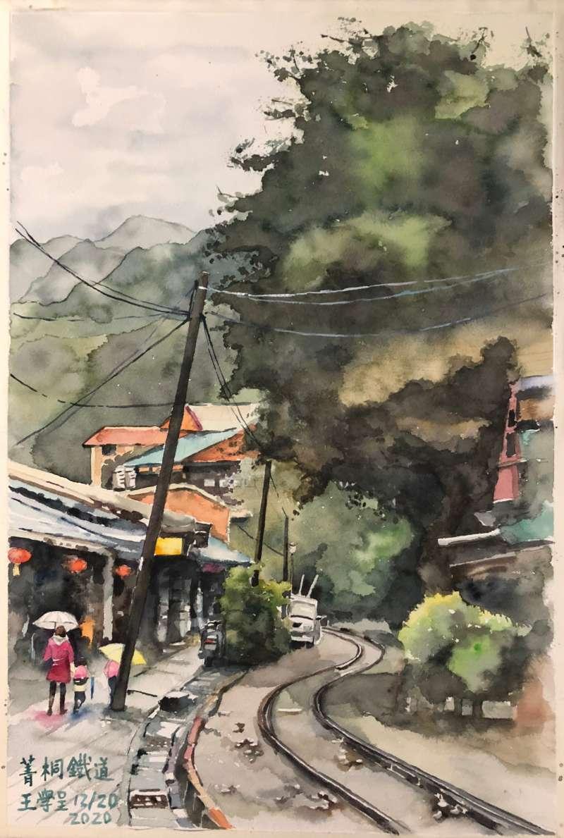 菁桐鐵道,今年是平溪支線通車一百年紀念。(繪圖:王學呈)