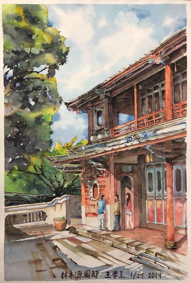 板橋林家花園,展現人文園林之美。(繪圖:王學呈)