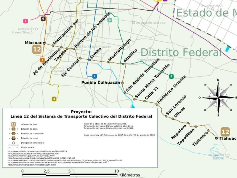墨西哥城捷運第12號線的沿線車站一覽。(Sofree@Wikipedia/CC BY 3.0)