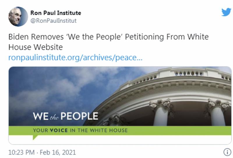 """羅恩·保羅學院(Ron Paul Institute)在其博客中寫道:「看來'我們人民'的請願系統已經從白宮網站上撤下了。"""" """"這是一個可怕的事件,必須予以宣傳,必須使拜登改變這一決定。」(作者提供)"""