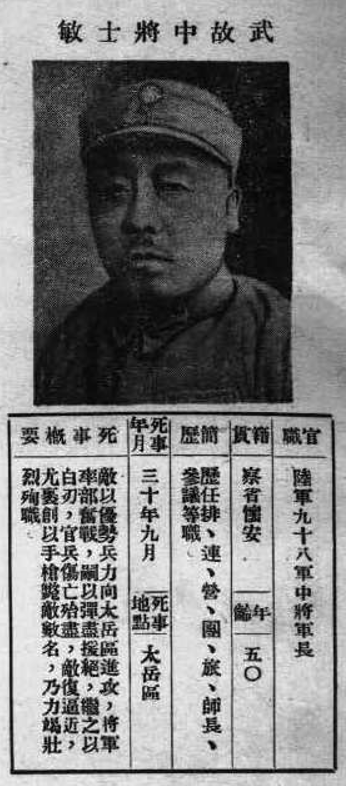 20210507-遭日軍與共軍圍攻而死的武士敏中將。(作者提供)