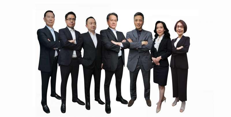 黃茂雄之子黃育仁等七位,對公司理念相同、參選本屆董事的7位專家,共同呼籲爭取股東支持。(圖片來源:菱光科技提供)