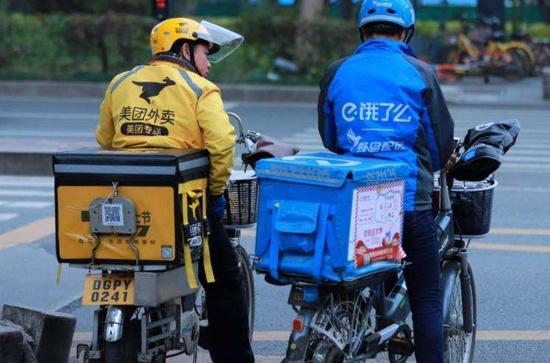 美團外賣、餓了麼成了中國2大外送平台。(中新網)