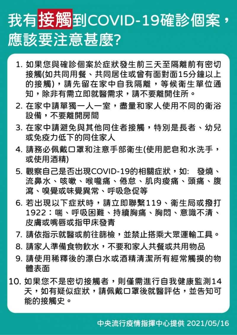 接觸過新冠肺炎(COVID19)確診個案該做什麼?(取自衛生福利部臉書)