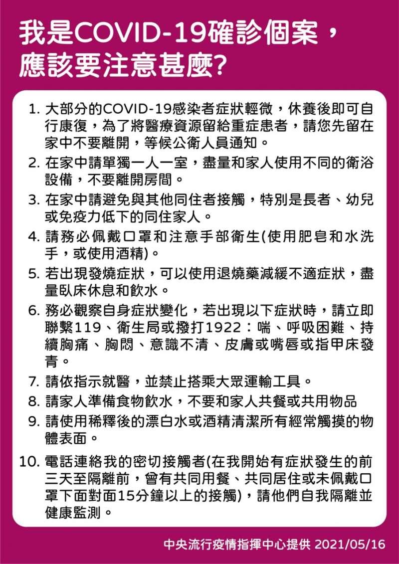 確診新冠肺炎(COVID19)怎麼辦?(取自衛生福利部臉書)