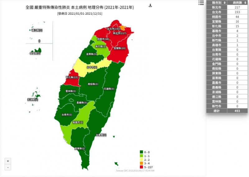 20210517-根據疾管署「本土病例地理分布圖」顯示,今年各縣市確診病例以新北市217人最多。(取自疾管署網站)