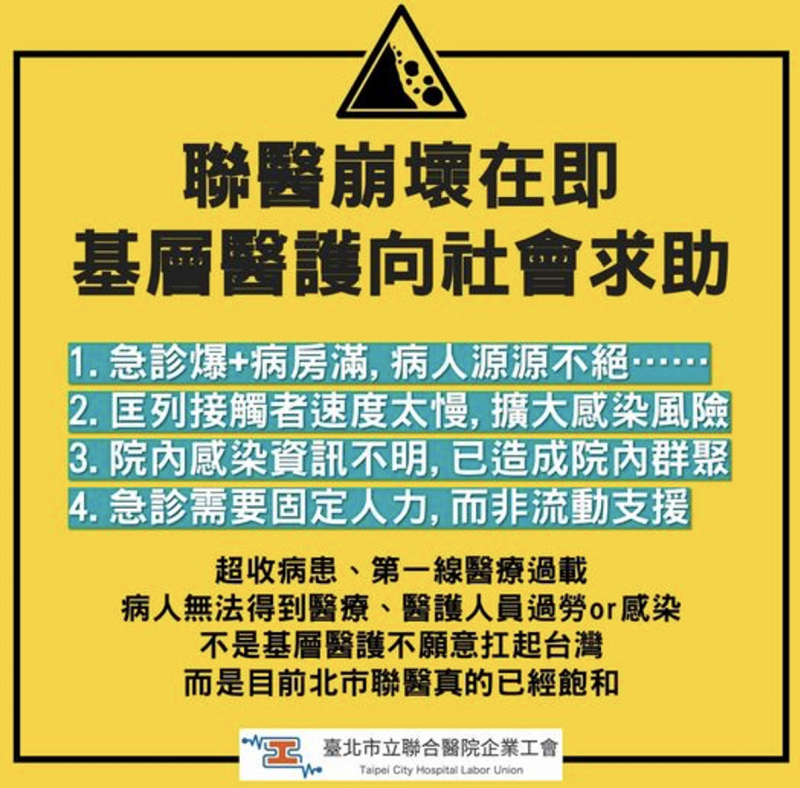 台北市立聯合醫院企業工會——北市聯醫工會在臉書上發表長文「醫療崩壞在即,基層醫護向社會求助!」(劉瑞思提供)