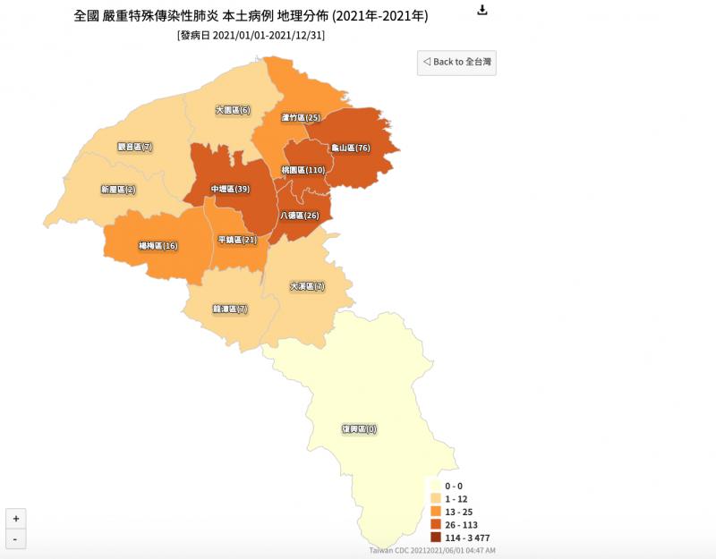 桃園確診人數分佈圖(圖/取自衛福部官網)