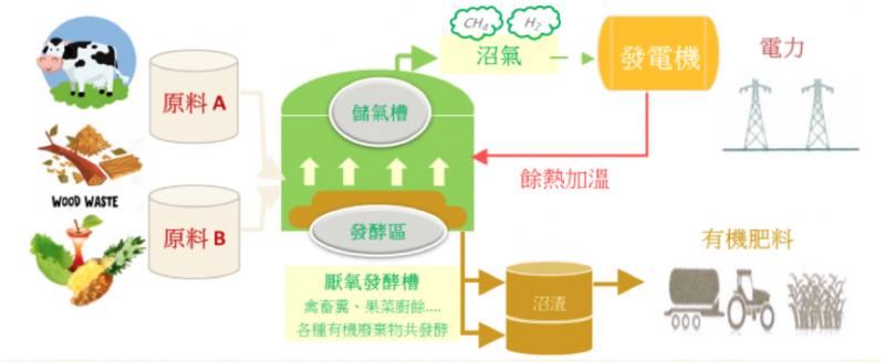 圖一,典型農牧廢棄物厭氧發酵與沼氣發電流程(圖/綠學院提供)