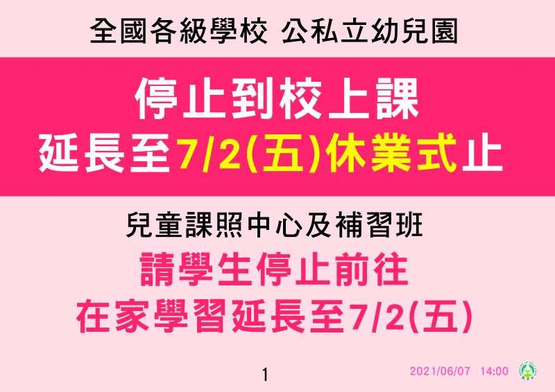 20210607-全國各級學校停止到校上課至7月2日。(中央流行疫情指揮中心提供)