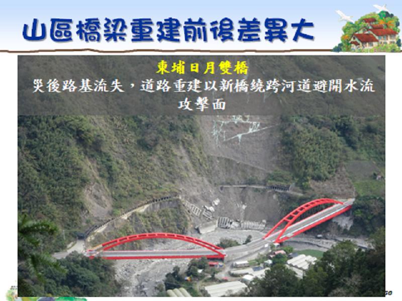 行政院重建會運用民間善款進行東埔日月雙橋重建。(作者提供)