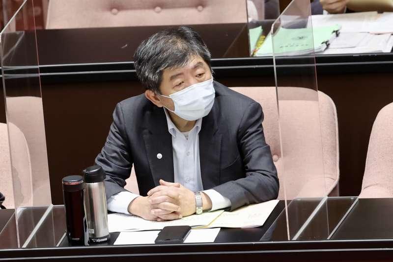 20210608-衛福部長陳時中8日於立院備詢。(台北市攝影記者聯誼會提供)