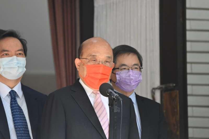 20210609-行政院長蘇貞昌(中)9日上午赴立法院備詢前受訪。(行政院提供)