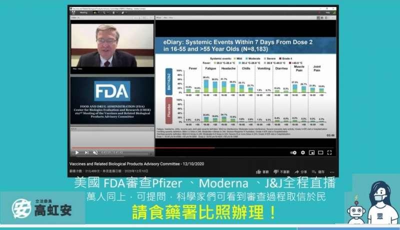 立委高虹安要求食藥署比照美國食品藥物管理局直播新冠疫苗審查過程。(高虹安立委辦公室提供)