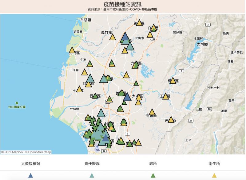 台南市新冠疫苗接種站相關資訊。(台南市政府提供)