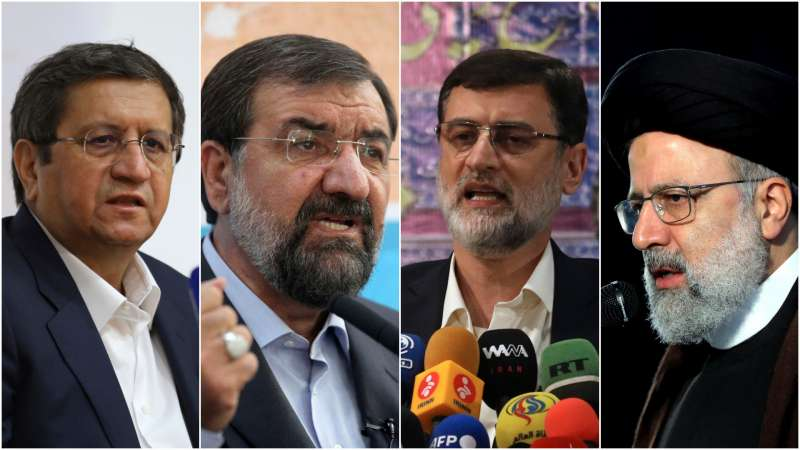 2021年6月伊朗總統大選,強硬派教士萊希一枝獨秀(左1)(AP)