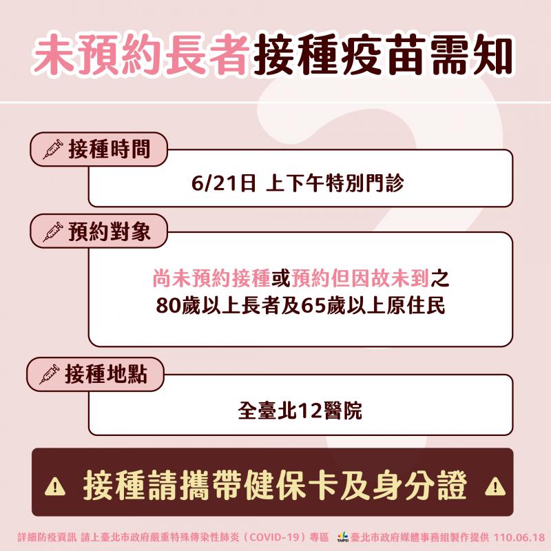 台北市未預約長者接種疫苗須知。(台北市政府提供)