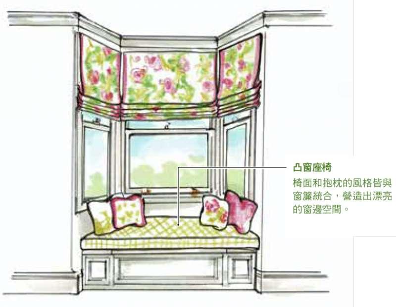 凸窗座椅:椅面和抱枕的風格接與窗簾整合,營造出漂亮的窗邊空間(圖 / 台灣東販提供)